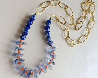 Cobalt Blue & Orange Long Necklace.  Long Statement Necklace, Beaded Necklace