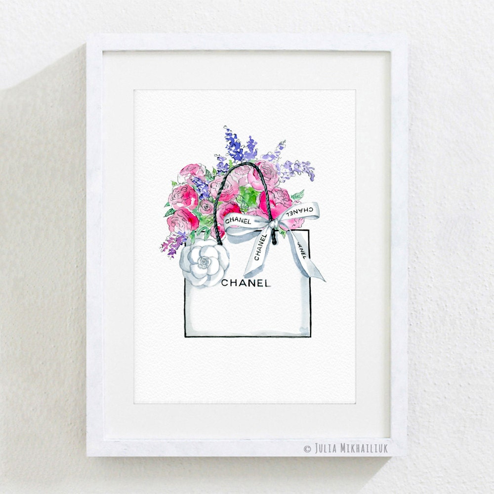 Paper Bag Wall Decor : Art print chanel ping paper bag peonies flowers spring