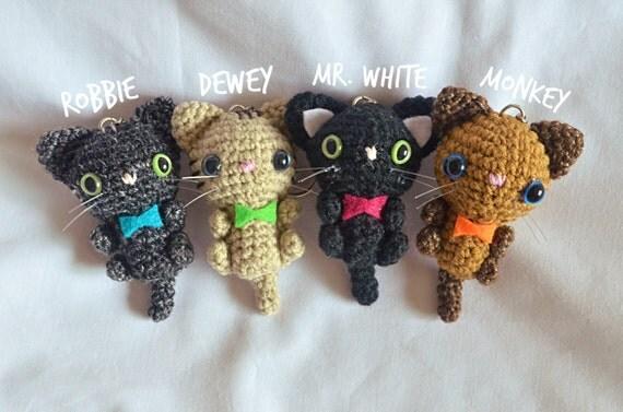 Porte cl s de chibi chat chats mini crochet - Porte cle crochet ...