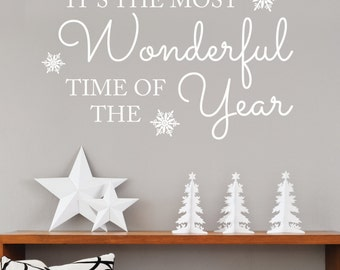 """Christmas """"It's the most wonderful time of year"""" - Wall Sticker-Wall Decal-Christmas Quote-Quote Wall Stickers-Seasonal Stickers"""