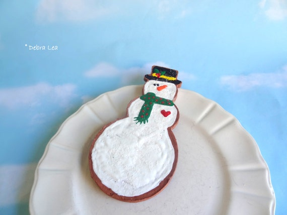 SALE! FAKE COOKIE Large Oversized Handmade Hand Painted Faux Decorated Iced Christmas Sugar Cookie Snowman Scarf Ornament CL9