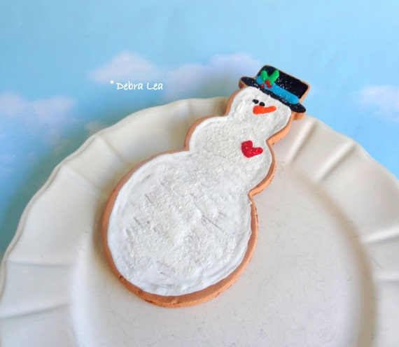 SALE Fake Cookie Large Oversized Handmade Gingerbread Hand Painted Faux Decorated Iced Christmas Sugar Cookie Snowman Ornament CL16