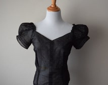 50s Sheer Black Dot Blouse // Sweetheart Neckline, Puffy Sleeves, Off the Shoulder // Pin Up Femme Fatale Bombshell Top // Sz M