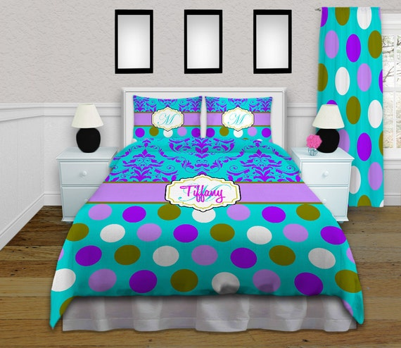 turquoise purple duvet cover polka dot by eloquentinnovations. Black Bedroom Furniture Sets. Home Design Ideas