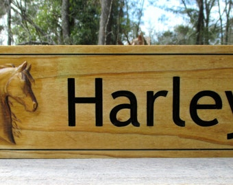 Personalized Horse Name Plate Custom Carved Barn Stall Sign 3D  Wood Personalized Stall Sign Tack Room Name Plaque Stall Door Plate Stable
