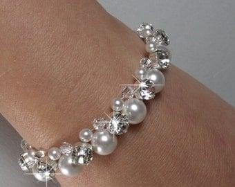 Pearl Bridal Bracelet, Pearl Bridesmaid Bracelet, Bridal Wedding Jewellery, Bridesmaid Jewellery, Crystal Pearl Diamante HARRIET