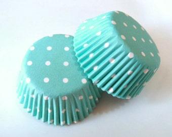 Mini Aqua Blue White Polka Dot Cupcake Liners (50)