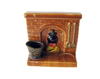 Fireplace Hearth Kitchware Napkin and Toothpick Holder  / Vintage Kitchenware / Vintage Tableware / Vintage Desk Accessory / Letter Holder