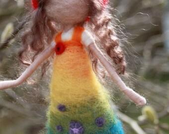 Needle felted rainbow fairy decoration