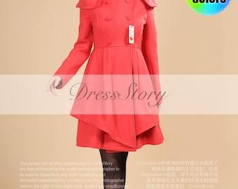 Layered Coral Red Coat - Cashmere Wool Blend Coat - Short Wool Coat - Red Cashmere Coat - Maroon Wool Coat - Asymmetric Hem Coat -BC70