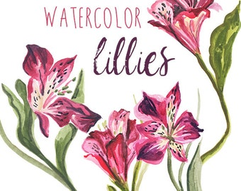 Red Lily Watercolor Floral Clipart INSTANT Download Digital Clip Art Flower Clipart Flowers Watercolors Commercial Use Floral Clip Art