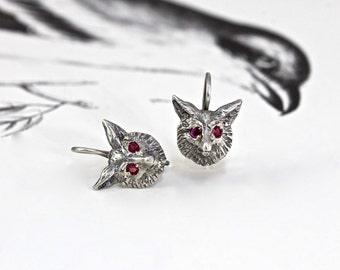 Victorian Style Fox Earrings, Sterling Silver with Ruby Eyes, Boho Bohemian Animal Nature Lover Mothers Day Birthday Gift, Fox Jewelry