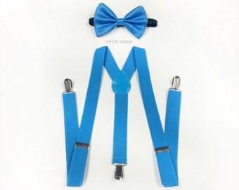 mens suspenders, bow tie and suspenders, Ocean Blue, sky blue bow tie, men bowtie and suspenders, bow tie and suspenders, suspenders
