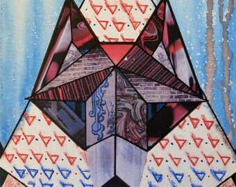 "Wolf Geometric Collage Graffitti 10""x8"" - ORIGINAL unframed"