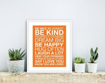 Family Rules Wall Art Print - Modern - Tangerine Orange - Typography Poster - House Rules - Subway Sign - 8x10