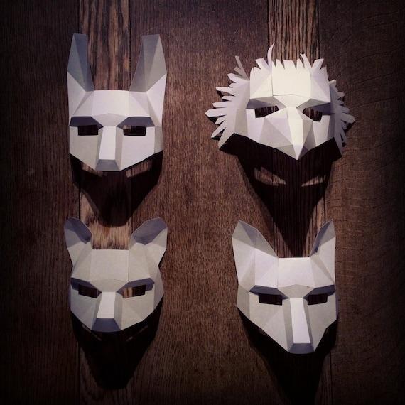 Woodland animal mask set for Woodland animal masks template