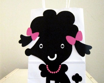 Black Poodle Puppy Dog Party Favor, Goody, Gift Bags