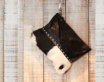 Cowhide clutch, black leather wallet, cow hide, pouch, evening black clutch