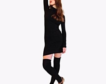 Long Sleeve Black Jersey Turtle Neck Dress