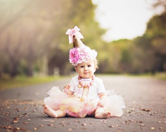 1st Birthday Tutu / Light Pink and Gold Tutu / Princess Tutu