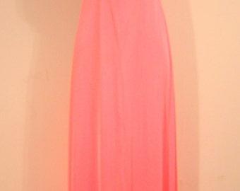 Peach Dress Vintage Retro Long 1970s