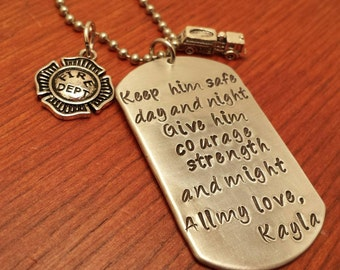 Personalized Hand Stamped Dog Tag Fireman Necklace, Keep him safe day and night, Firefighter gift, My Hero, Thin Red Line, Be safe, badge
