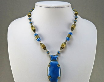 Vintage Czech Glass Beads Necklace With Metal Beads 1930s Jewelry Vintage Jewellery Statement Necklace