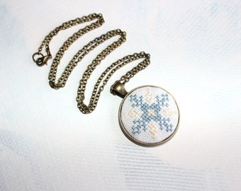 St Valentine Snowflakes Febryary trends Winter gift ideas Cross stitch Ethnic Snowflakes pendant necklace blue beige embroiderySt Valentine