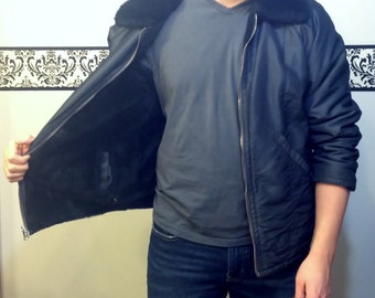 80's Does 50's Men's Greaser Zip Up Jacket by Marvin Richards, Size Small/ Medium, VintageRockabilly Jacket, Faux Fur Reversible Jacket