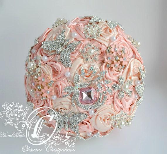 peach wedding brooch bouquet