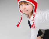 Red hat with white stripes - Crochet hat - Hat with earflaps- toddlers hat- for boys and girls
