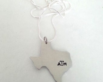 Texas Aggies A&M Hand Stamped Texas State Necklace - Any College, Any State