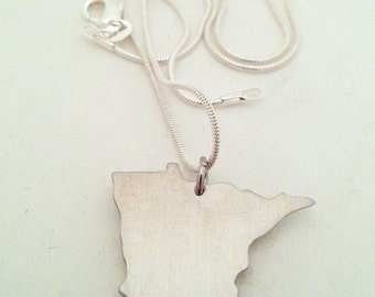 Custom Minnesota State Necklace with Heart over Home Town