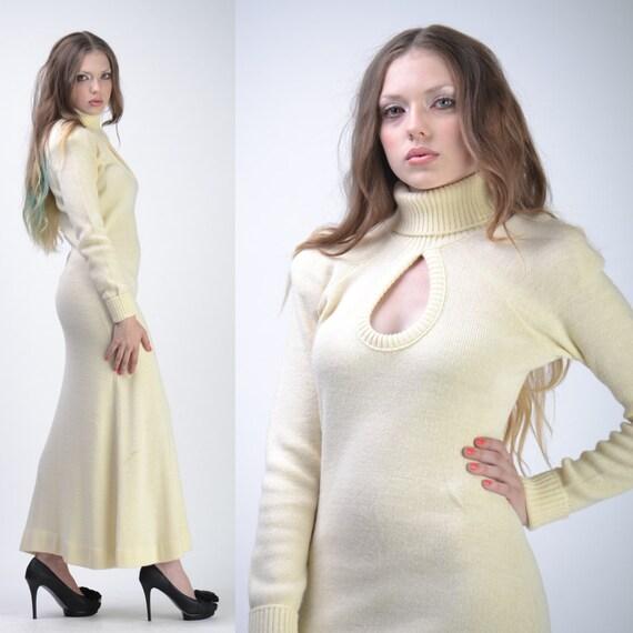 Saks Fifth Avenue Wedding Gowns: Vintage 70s SAKS Maxi SWEATER Dress Cream Knitwear Wedding