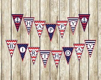 Nautical Birthday Banner, Nautical Happy Birthday Banner, Instant Download Happy Birthday Banner, Printable Nautical Birthday Banner