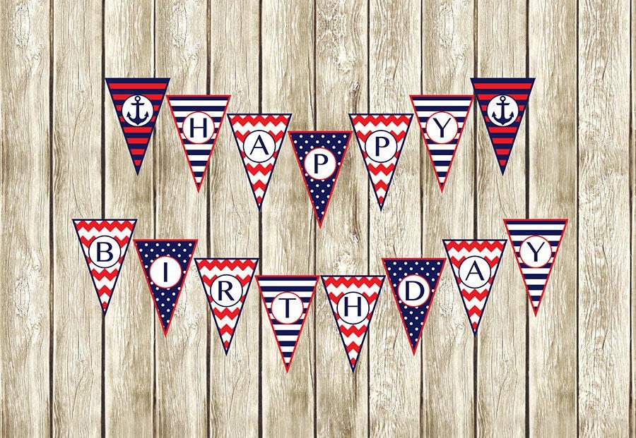 Nautical Birthday Banner Nautical Happy Birthday Banner