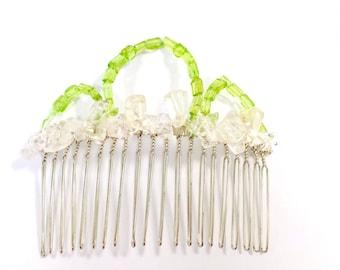 Peridot and Clear quartz Hair Comb, Gemstone Hair Comb, Peridot Comb, White Comb, Bridal Comb, Silver Comb, Green Comb, August birthstone