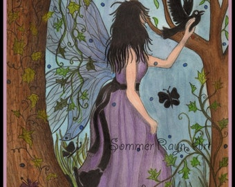 Enchanted Forest Fairy, the magical woods call to her - Card of Print,  Watercolor, Item #0303a