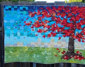 "OOAK art quilt titled ""Autumn Arrives"""