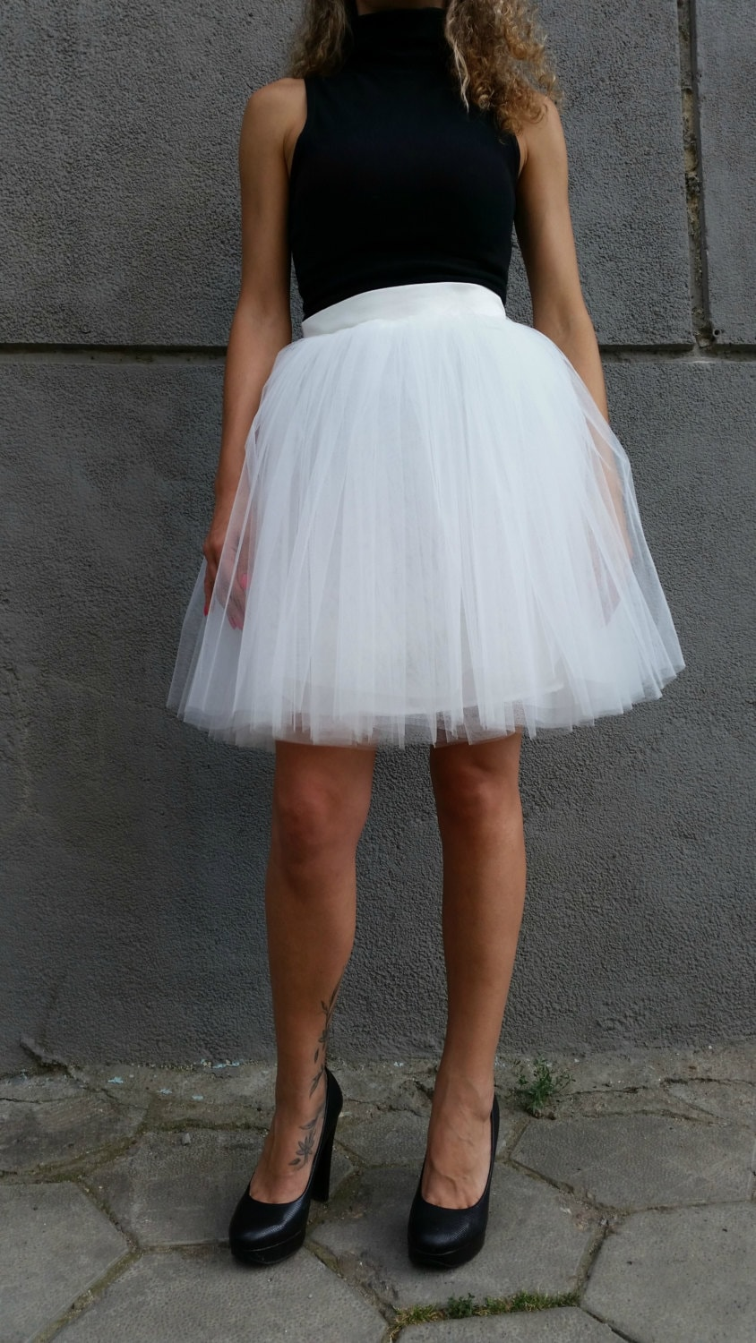 white tulle skirt knee length tutu skirt princess