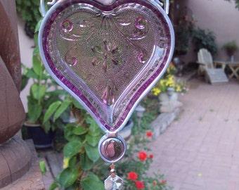 Purple Tiara Heart Suncatcher