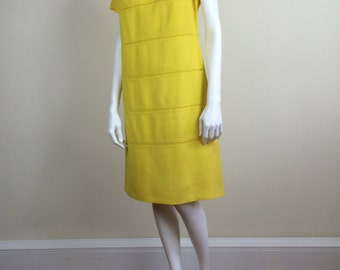 bright sunshine yellow linen A line shift dress Moygashel 60's