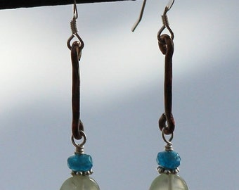 Prehnite and Apatite Hammered Copper Dangle Earrings
