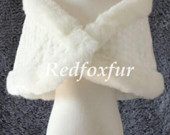 Bride Fake fur stole Ivory Fake fur shawl Bridesmaid Wrap Bolero Women Shrug Cloak Winter wedding dress Jacket Coat Cape Warm