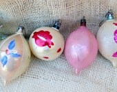 Vintage pink and blue Glass Christmas Tree Ornaments // Mid-Century Polish ornaments set of 4