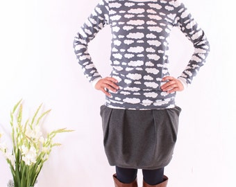 """Retroshirt """"Annabell"""" gray with clouds"""