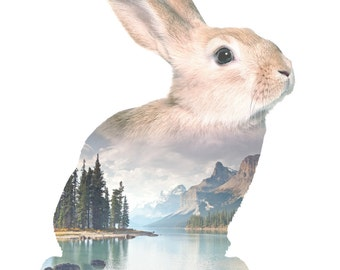 Rabbit Animal Double Exposure Art Print - Faunascapes by WhatWeDo