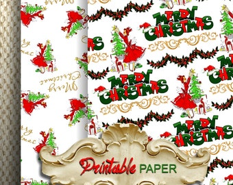CHRISTMAS LADY - 2 SHEETs Printable wrapping paper for Scrapbooking, Creat - Download and Print