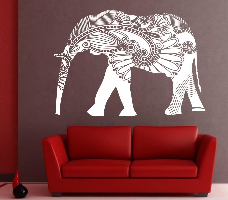 Elephant Wall Decal Stickers Elephant Yoga Wall Decals Indie - Elephant wall decal