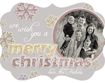 INSTANT DOWNLOAD Glitter (Effect) Snowflakes Christmas Card Template, 7x5